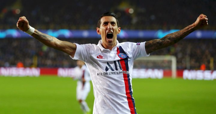 BRUGGE, BELGIUM - OCTOBER 22: Angel Di Maria of Paris Saint-Germain celebrates after Kylian Mbappe of Paris Saint-Germain scores his team's second goal during the UEFA Champions League group A match between Club Brugge KV and Paris Saint-Germain at Jan Breydel Stadium on October 22, 2019 in Brugge, Belgium. (Photo by Dean Mouhtaropoulos/Getty Images)